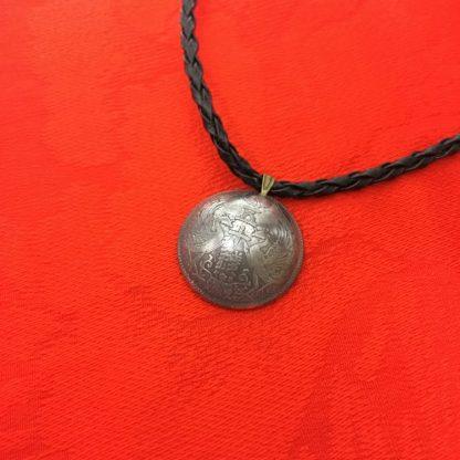 小型五十銭銀貨ネックレス紐ブラック表